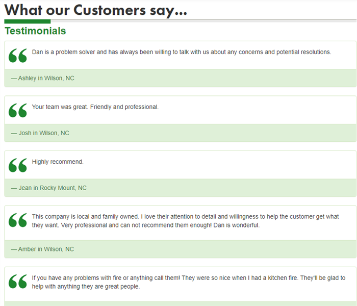 screen shot of testimonial page, showing various positive reviews from customers in Wilson and Rocky Mount