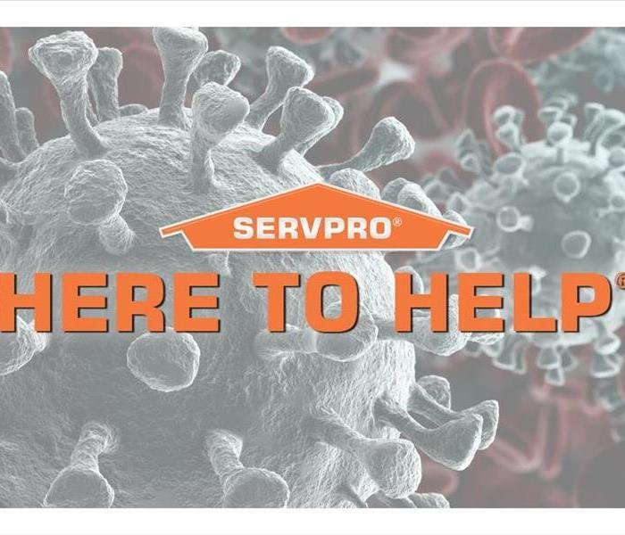 "image of virus with words ""Here to Help"""